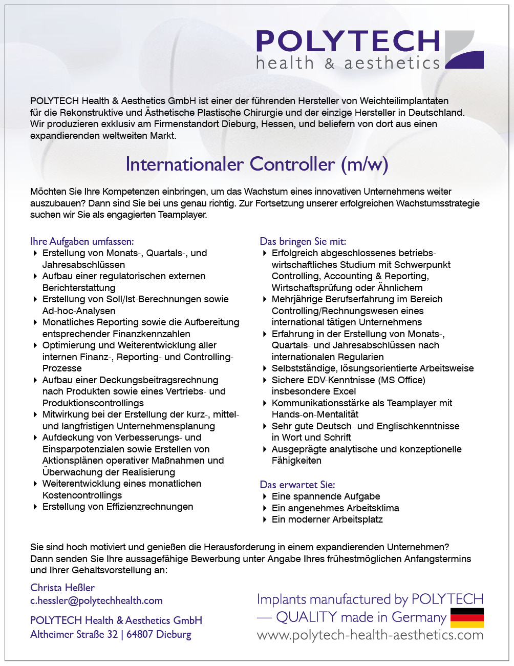 Stelle InternatController JUL-2016